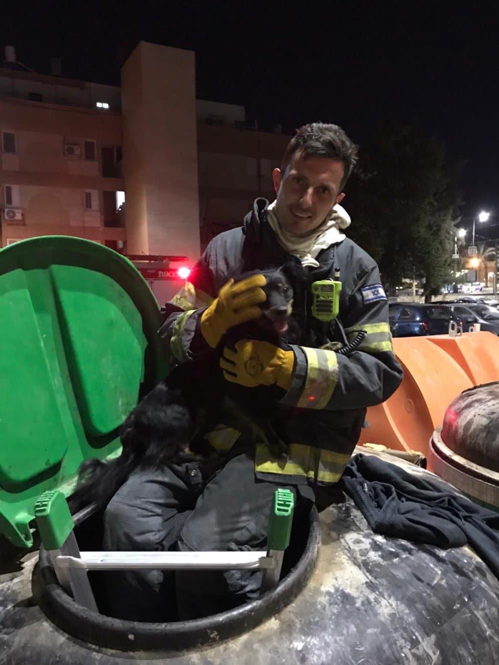 כוחות כיבוי אש חילצו כלב שנלכד בפח מוטמן